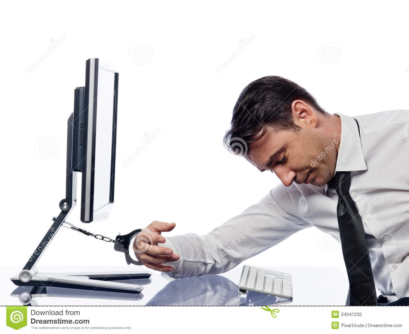 man chained to computer with handcuffs sad royalty free stock photo image 34041235. Black Bedroom Furniture Sets. Home Design Ideas