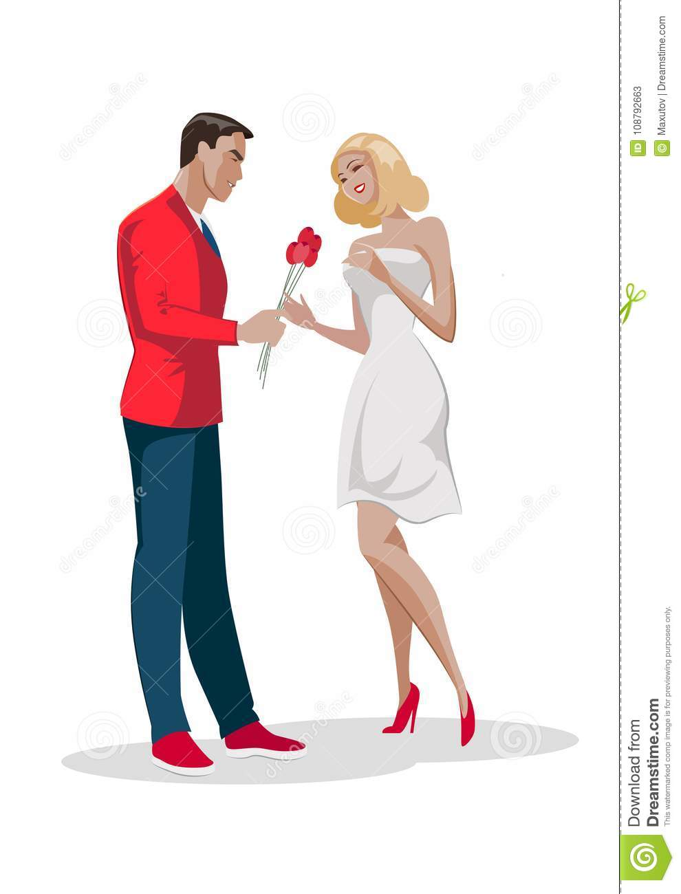 Man character give bouquet flowers to woman. First love date.