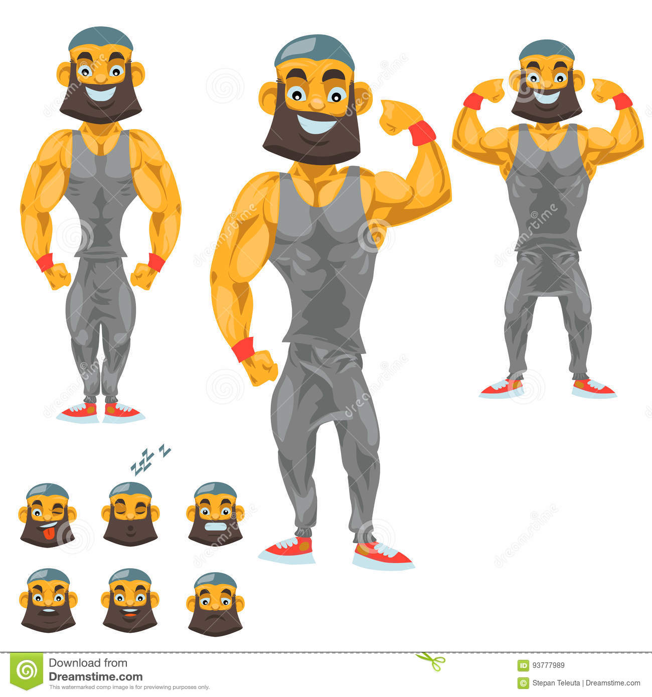 Man Character For Your Scenes Funny Cartoon Vector Illustration Isolated On White Background Body Builder Stock Vector Illustration Of Concept Standing 93777989