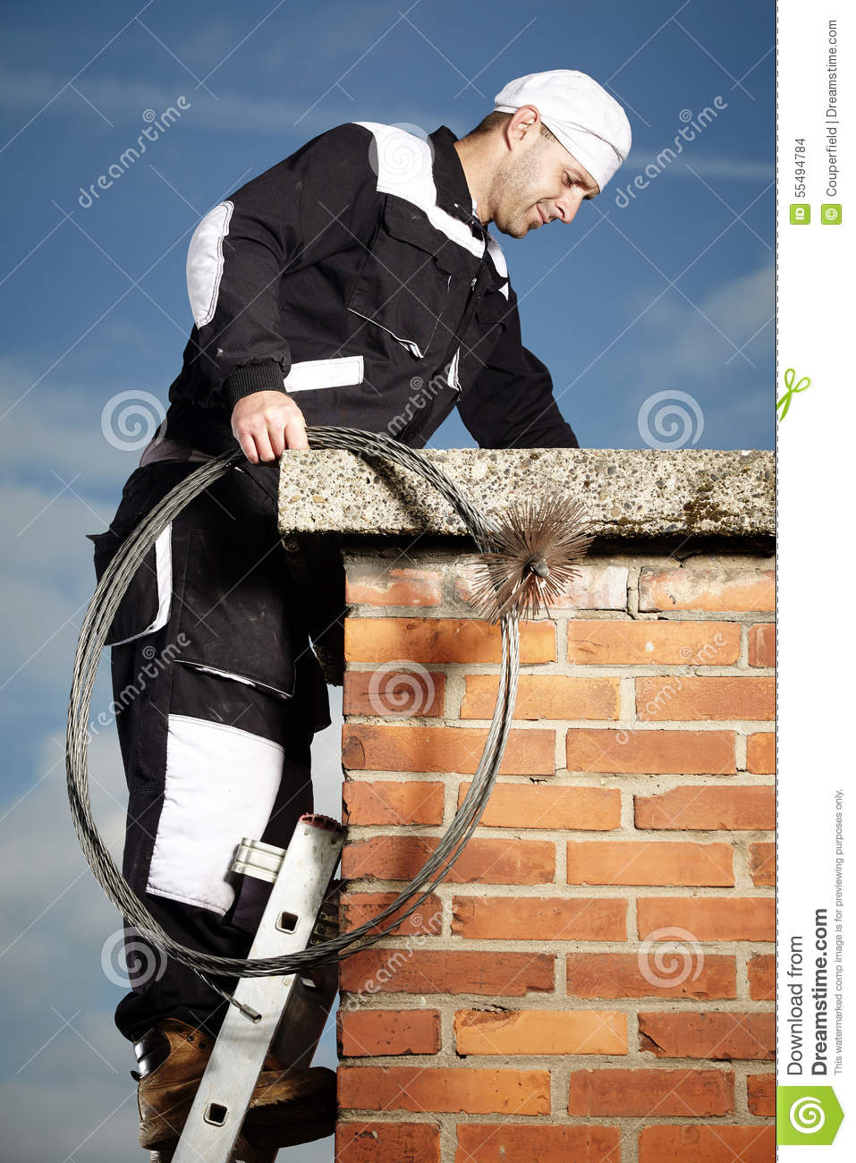 Man Checking Chimney Stock Photo Image 55494784