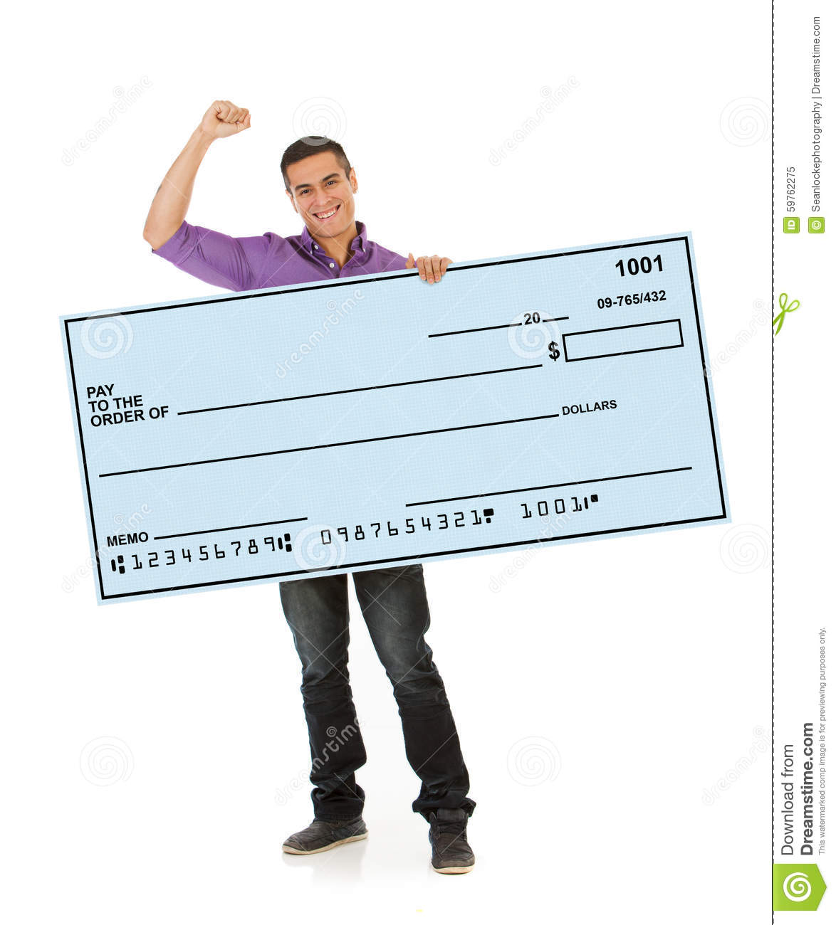 Man Cheering And Holding Up Giant Blank Check Stock Photo Image 59762275