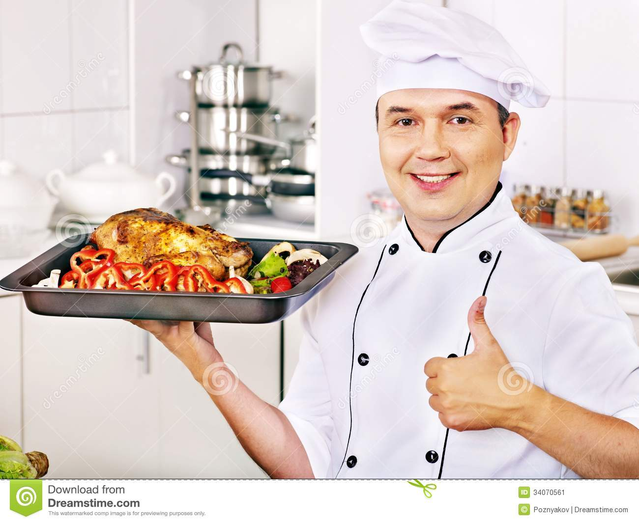 man in chef hat cooking chicken stock image image of chef handsome 34070561. Black Bedroom Furniture Sets. Home Design Ideas