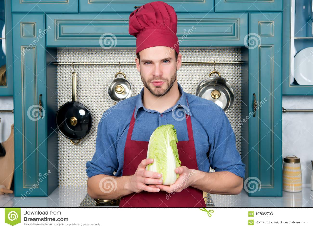 Man Chef In Red Hat, Apron Hold Chinese Cabbage Stock Image - Image ...