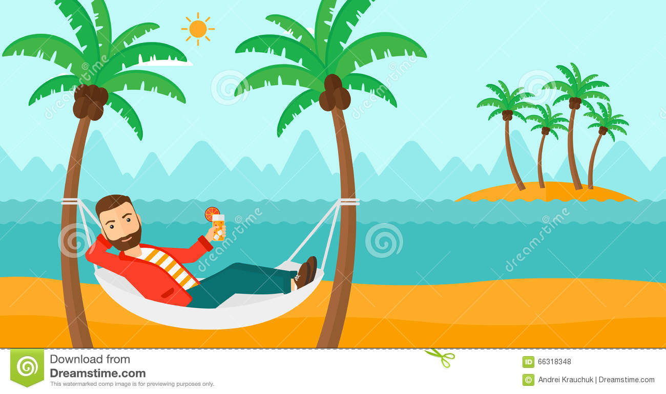 man chilling in hammock. stock vector. illustration of drink - 66318348
