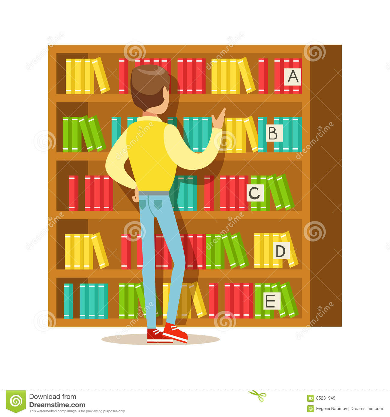 Man Choosing A Book From The Bookshelf Smiling Person In