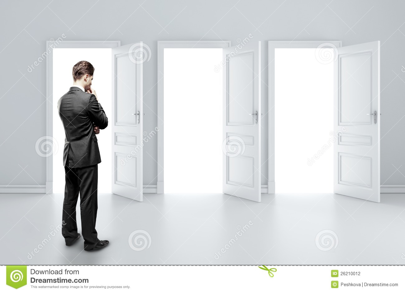 Man choosing door & Man choosing door stock photo. Image of leadership hand - 26210012