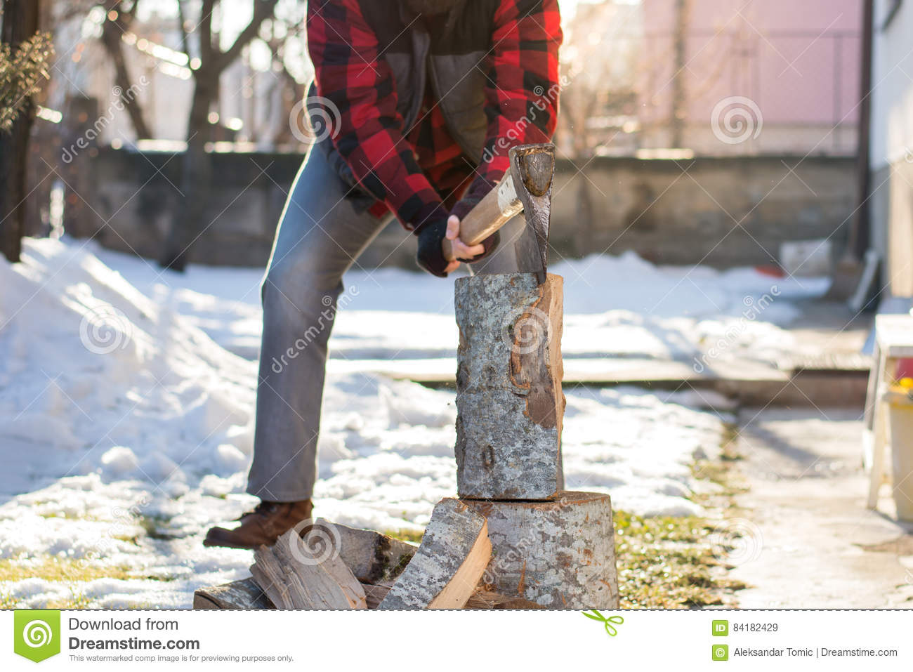 Man Chopping Firewood In The Yard Stock Image - Image of ...