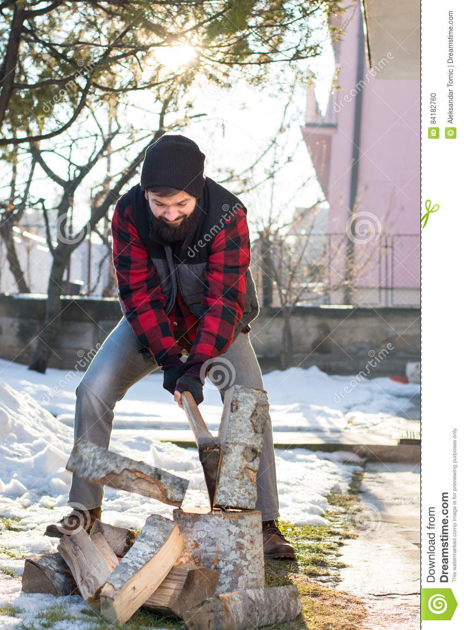 Man Chopping Firewood In The Yard Stock Photo - Image of ...