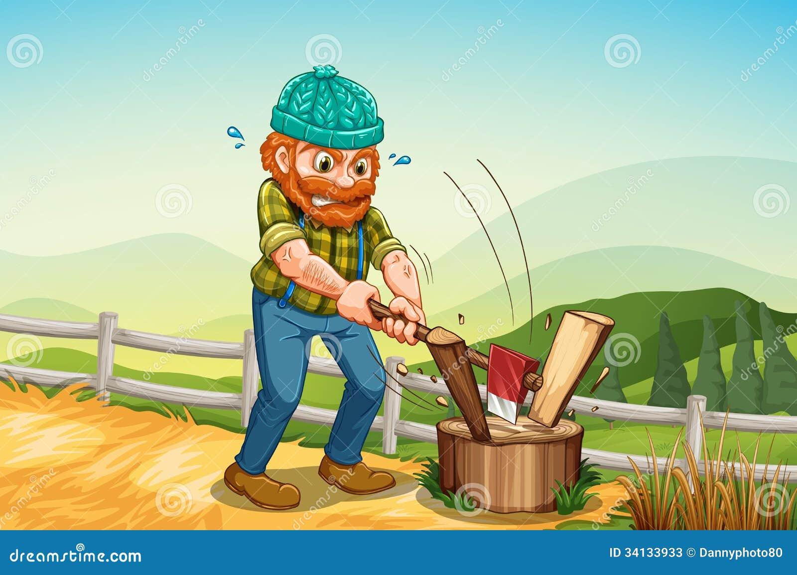 A Man Chopping The Log Above The Stump Stock Photos