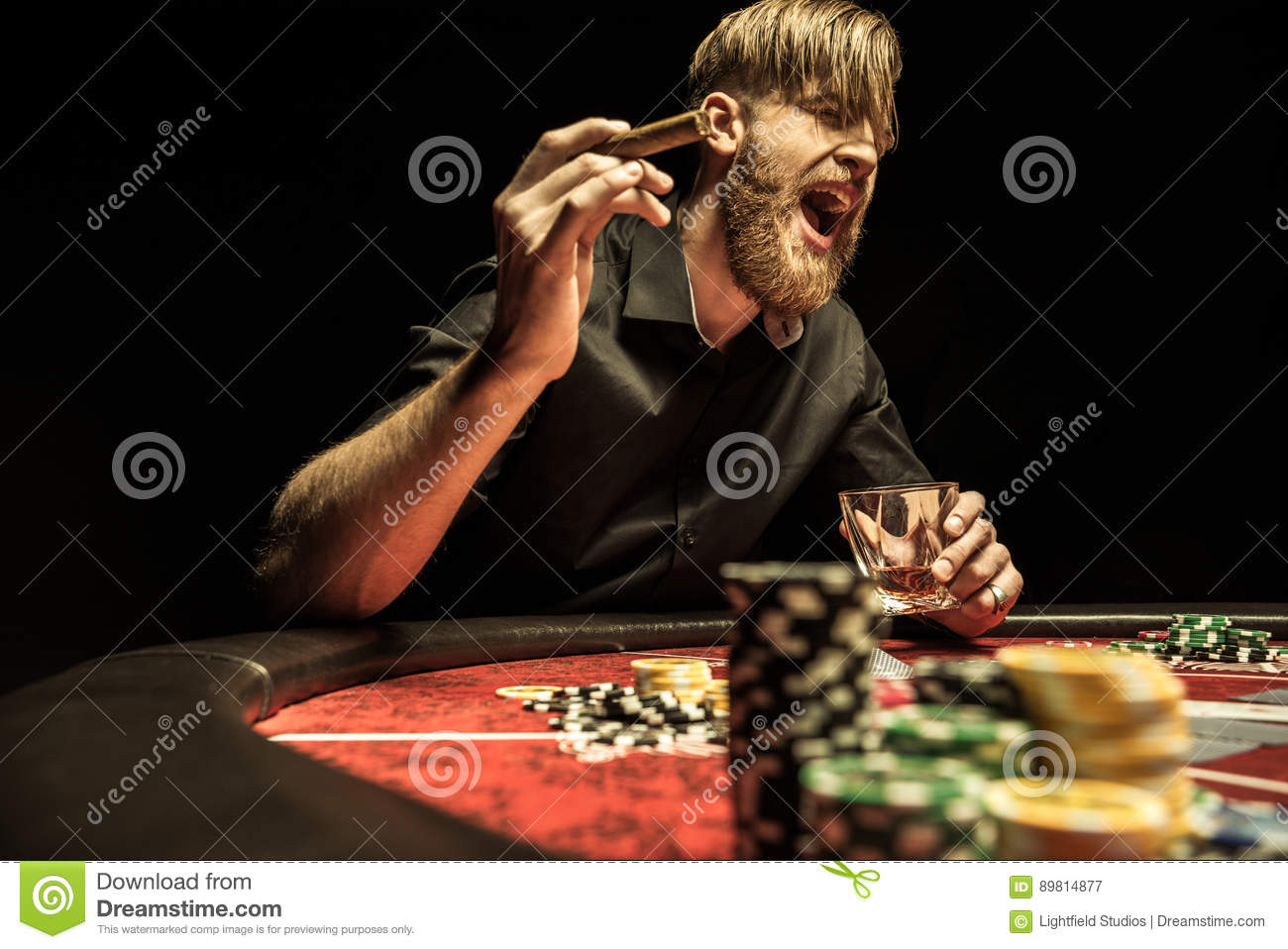 Astounding Man With Cigar And Glass Sitting At Poker Table And Home Remodeling Inspirations Basidirectenergyitoicom