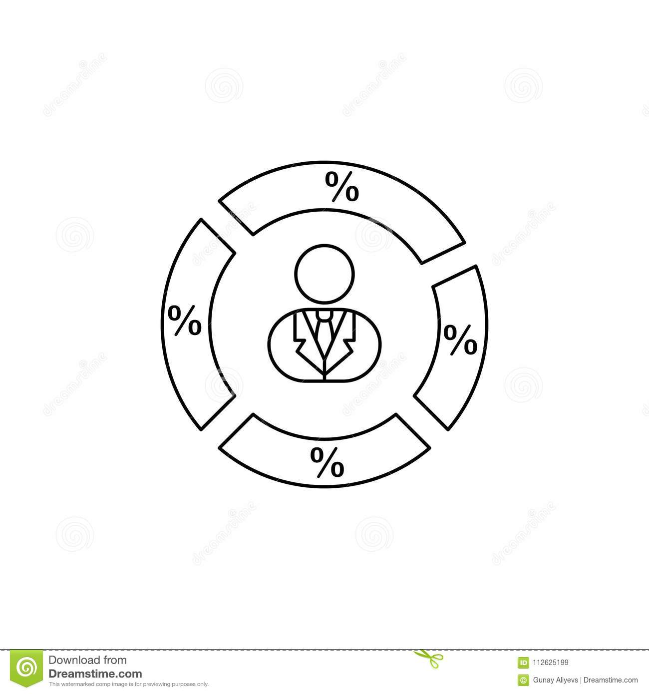 Man In A Circle Pie With Interest Icon Elements Of Elections Icon