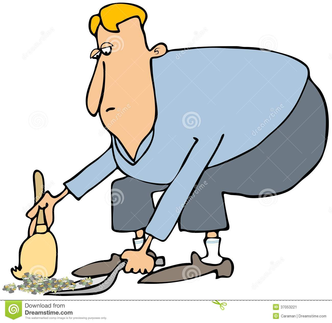 Man Cleaning With A Dustpan amp Broom Stock Image