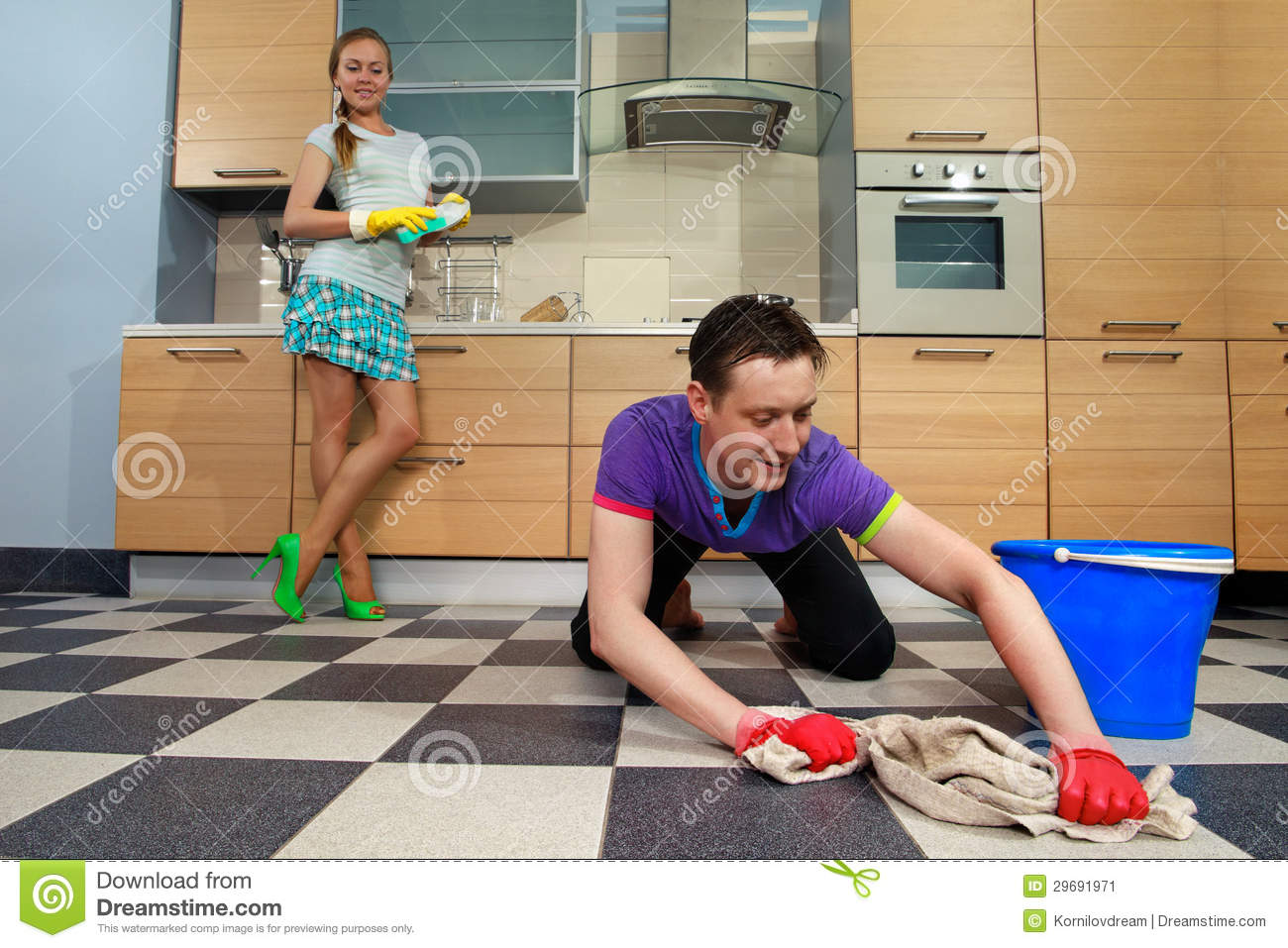 man cleaning floor stock image image of holding maid 29691971. Black Bedroom Furniture Sets. Home Design Ideas