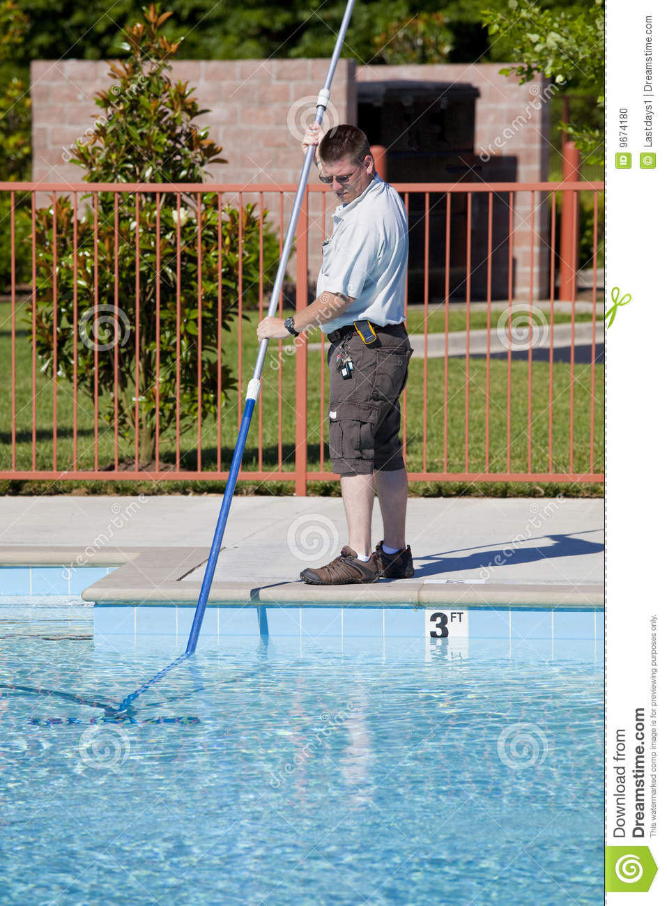 Man Cleaning A Pool Stock Photo Image 9674180