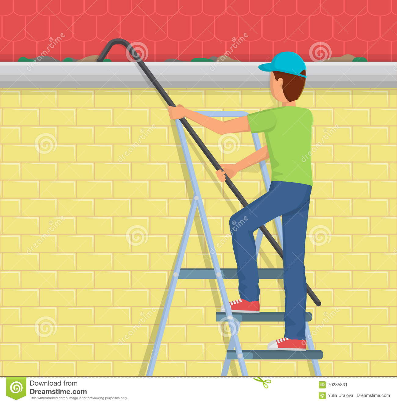 Man Cleaning Rain Gutter On A Ladder Cartoon Vector