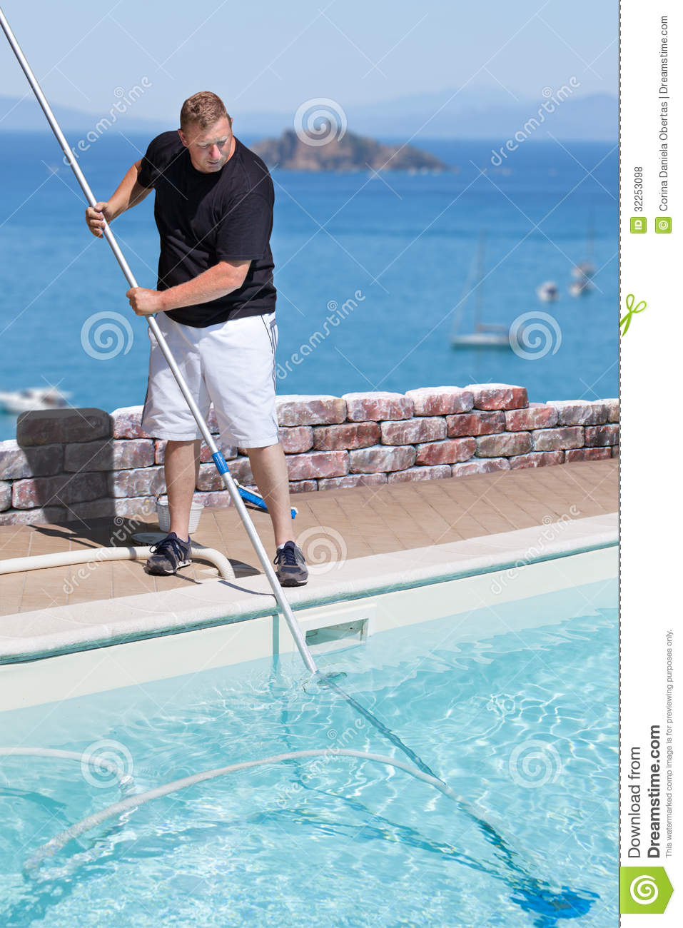 Man Cleaning Swimming Pool Above The Sea Royalty Free Stock Photos Image 32253098