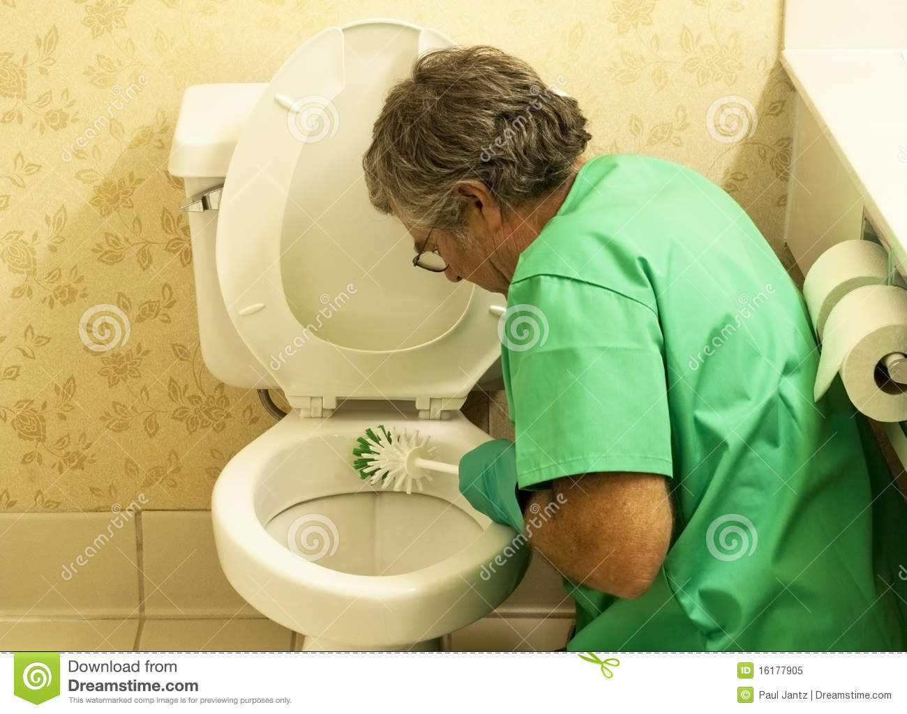 Man Cleaning Toilet Bowl With A Brush Stock Image Image
