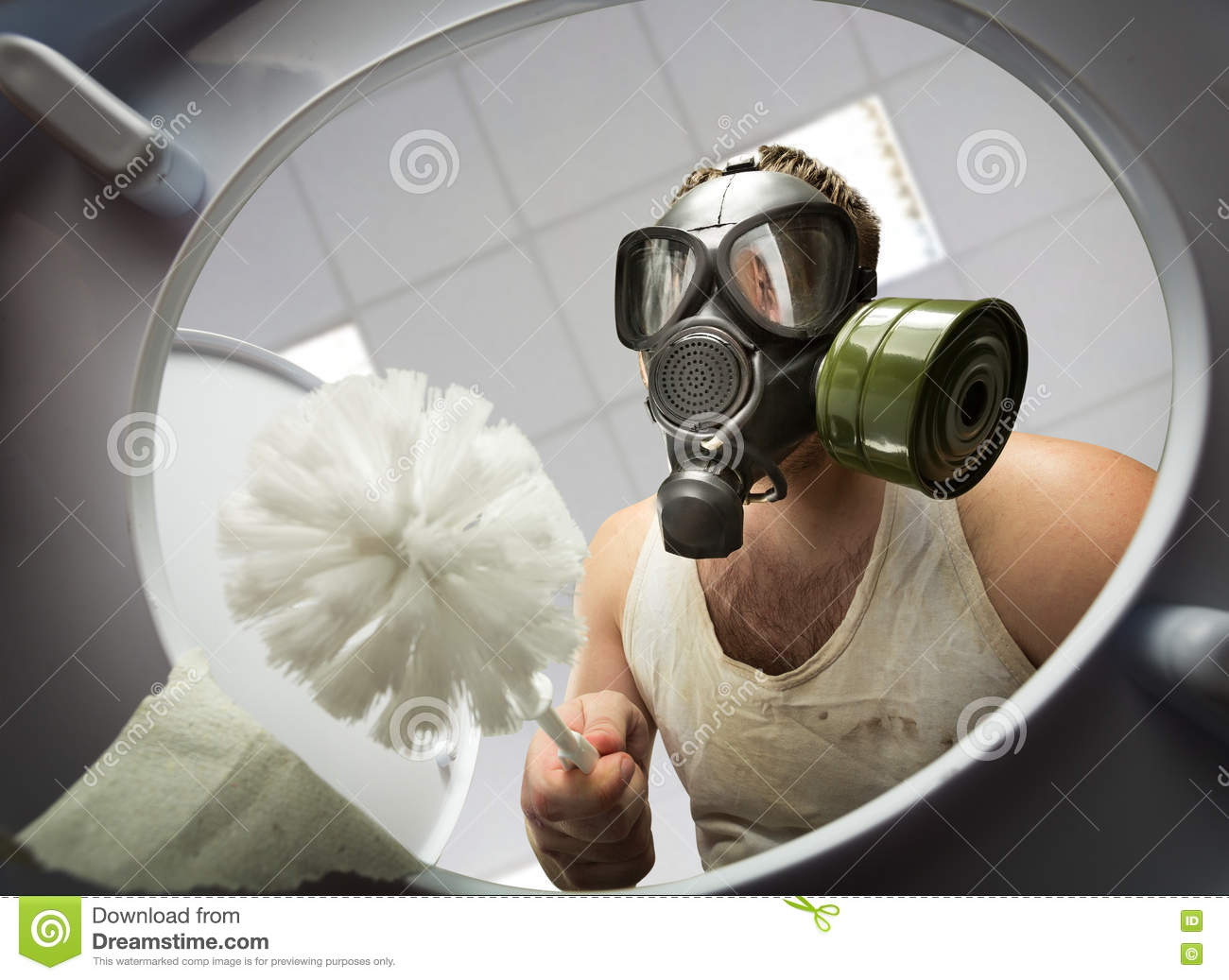 Man Cleaning The Toilet Bowl Stock Image Image Of Hand