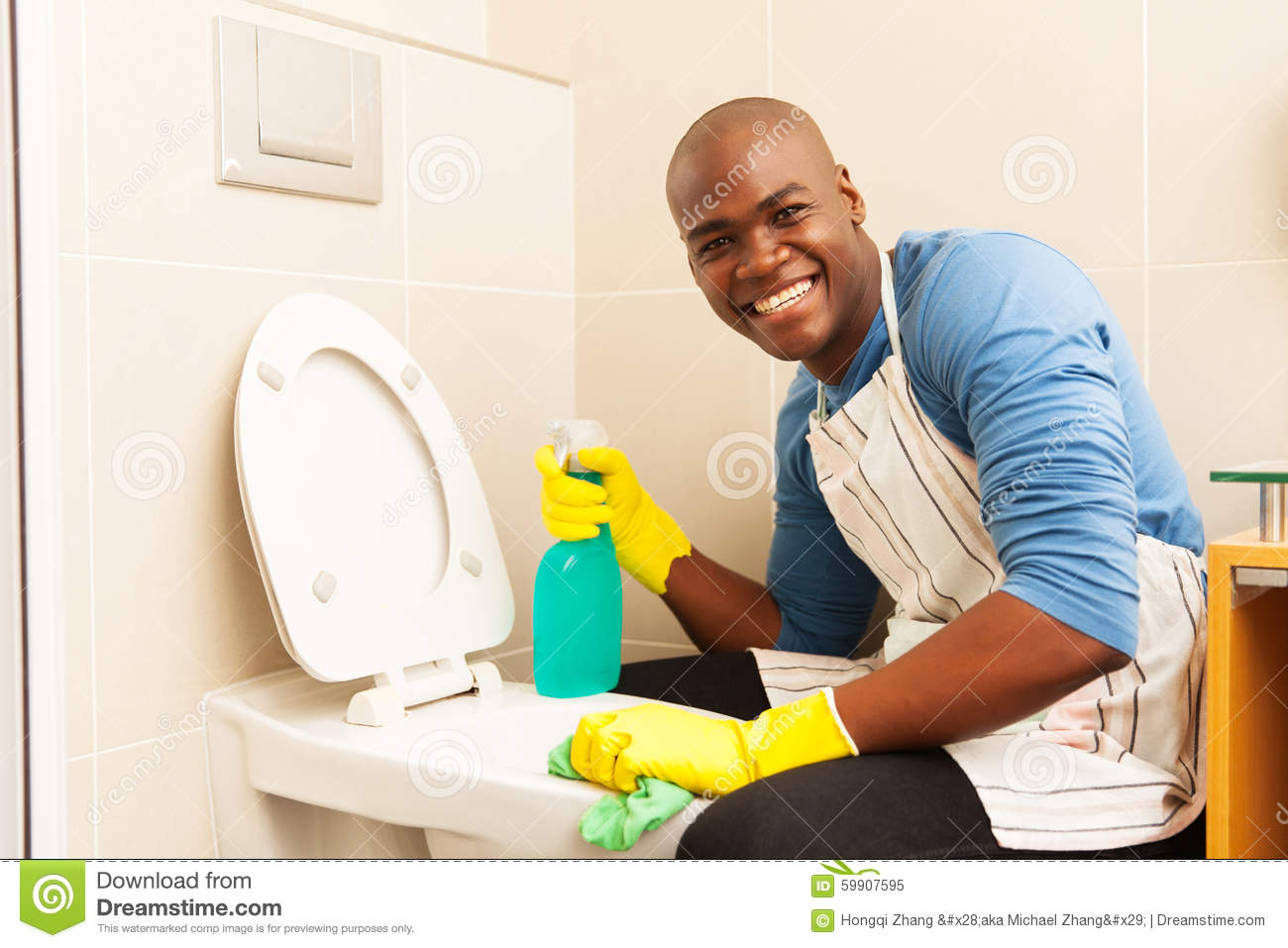 Man Cleaning Toilet Stock Photo Image 59907595