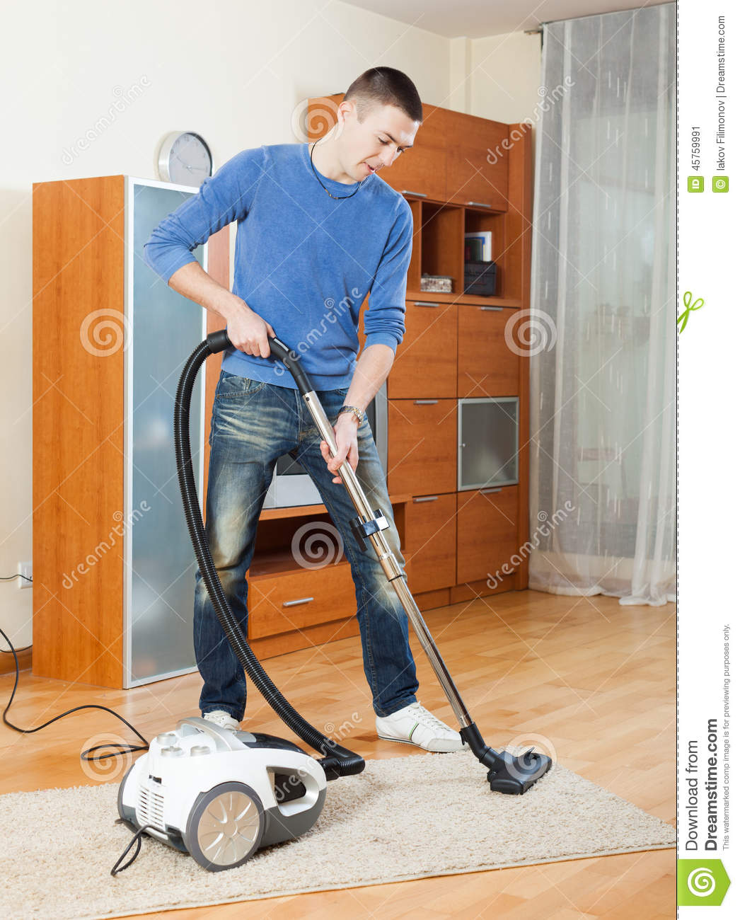 Vacuuming In The Living Room