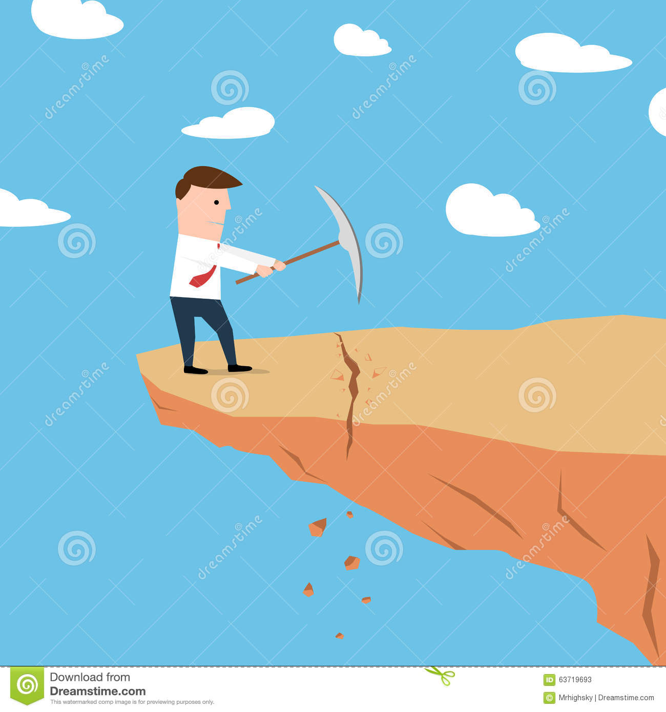 Cliff edge cartoons illustrations vector stock images for Digging ground dream meaning