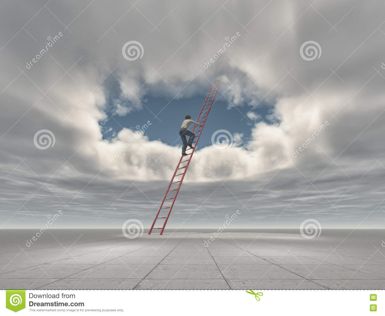 Man climb a ladder to a hole in the sky