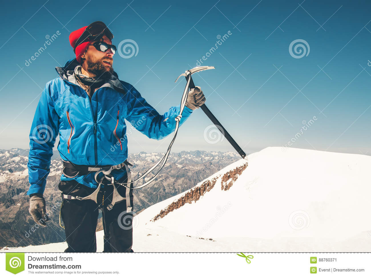 Man Climber Mountaineering With Ice Axe In Mountains ...