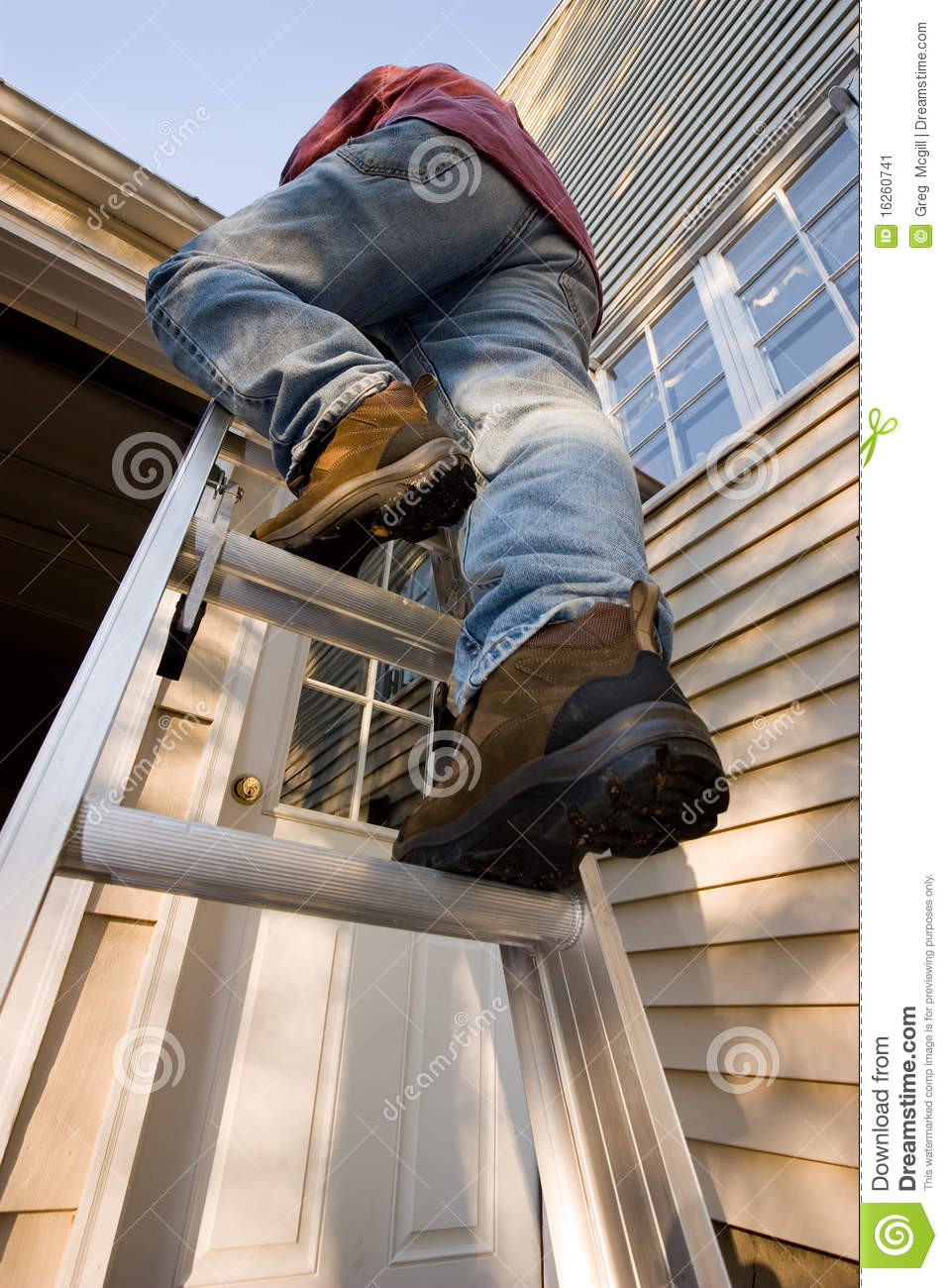 Download Man Climbing Ladder stock image. Image of commercial - 16260741