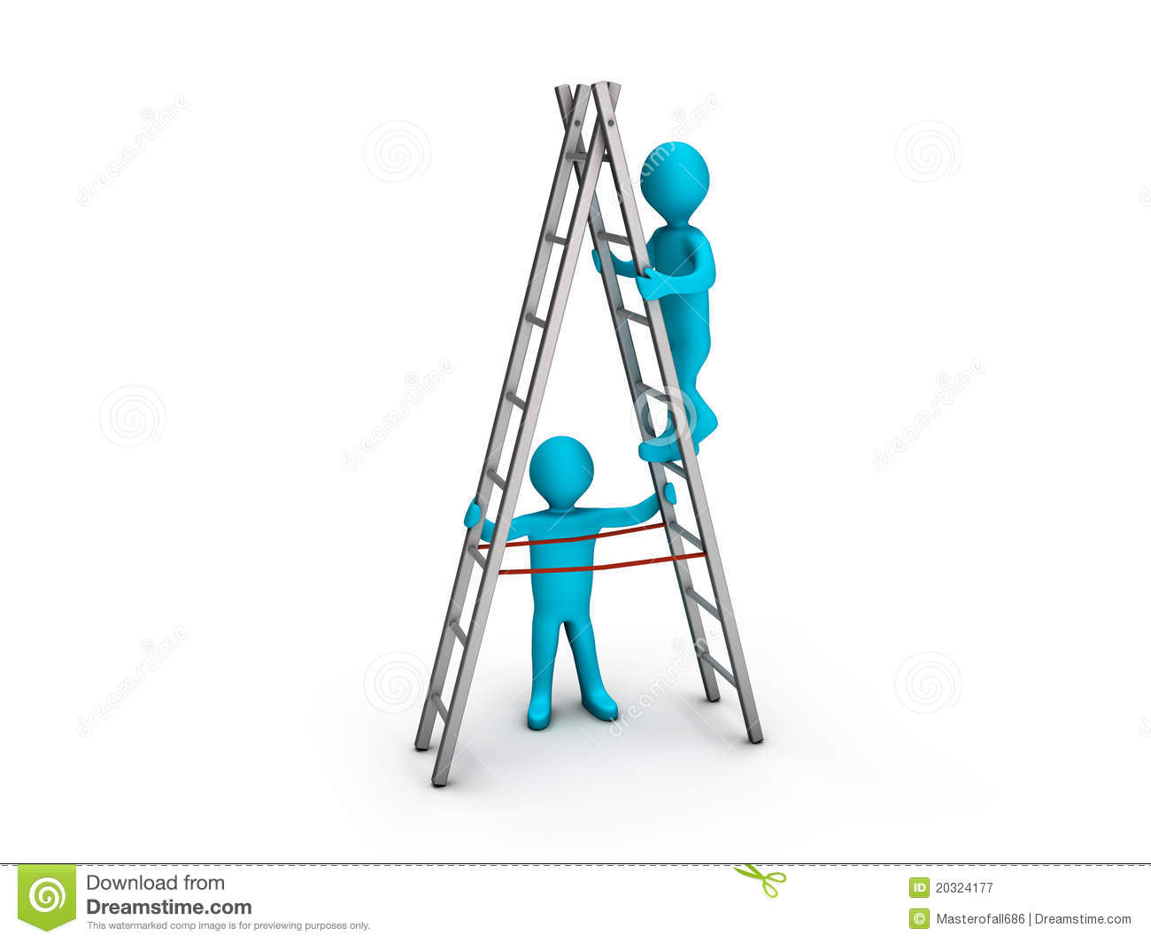 Man Climbing Ladder And Another Helping Him Royalty Free