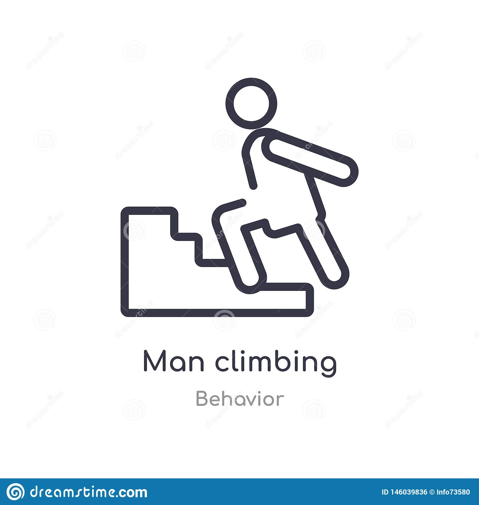 man climbing outline icon. isolated line vector illustration from behavior collection. editable thin stroke man climbing icon on