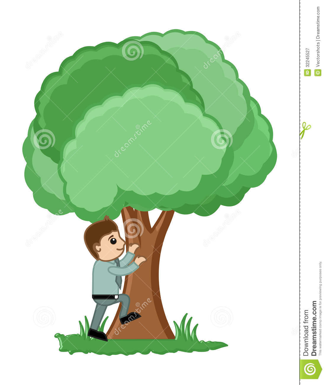 Conceptual Drawing Art of Young Cartoon Man Trying to Climb Tree ...