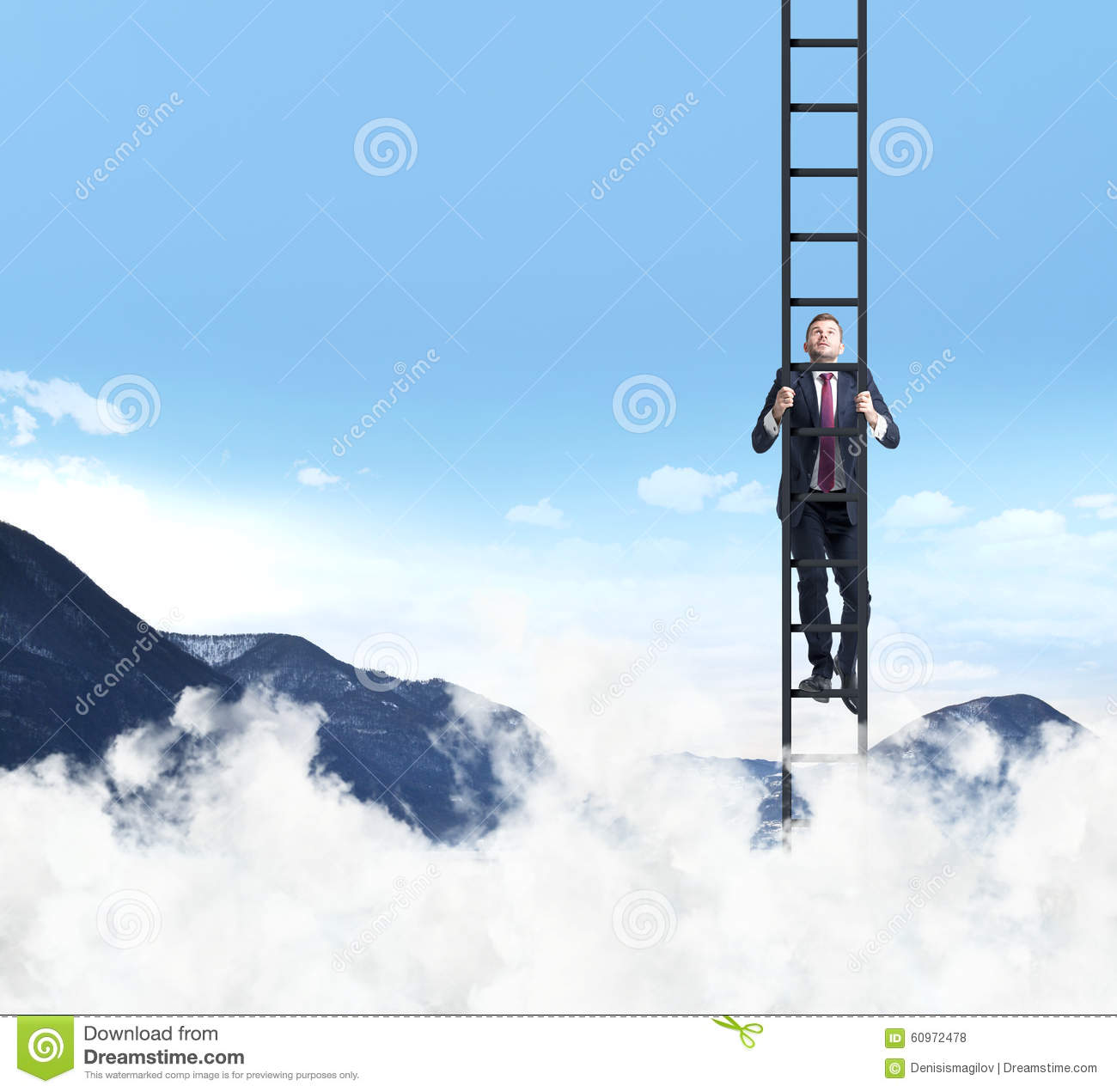 a man is climbing up the ladder clouds and mountain landscape a man is climbing up the ladder clouds and mountain landscape