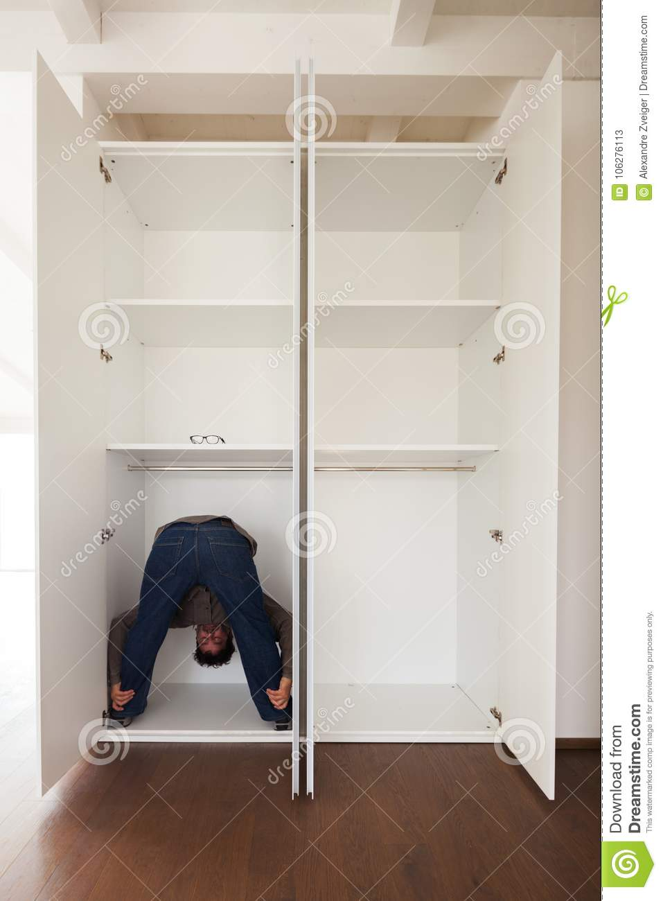 Download Man In Closet Doing Exercises, Concept Stock Image   Image Of  Exercises, Copy