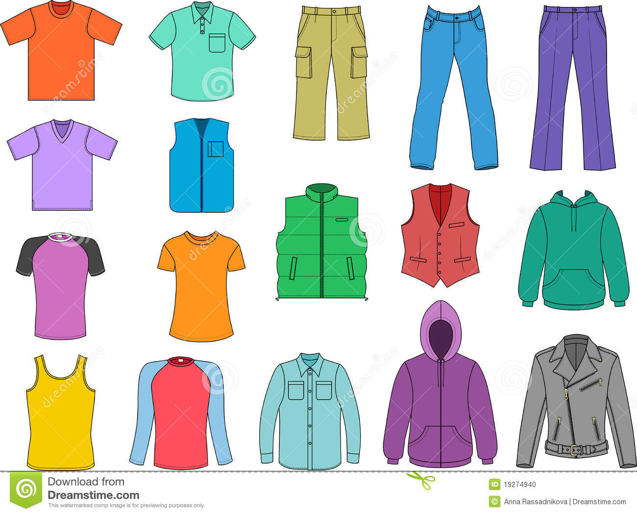Man Clothes Colored Collection Stock Vector - Illustration ...