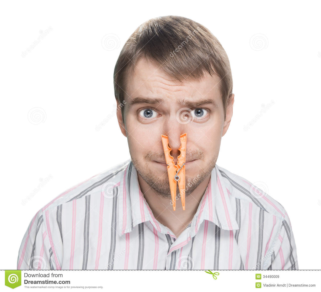 with clothespin on his nose stock image image 34490009