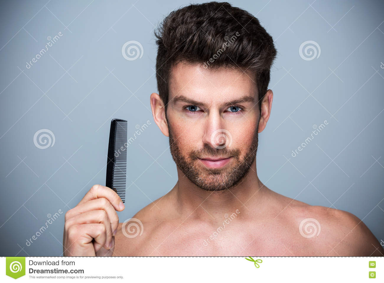 Man Combing His Hair Stock Photo Image Of Combing Comb