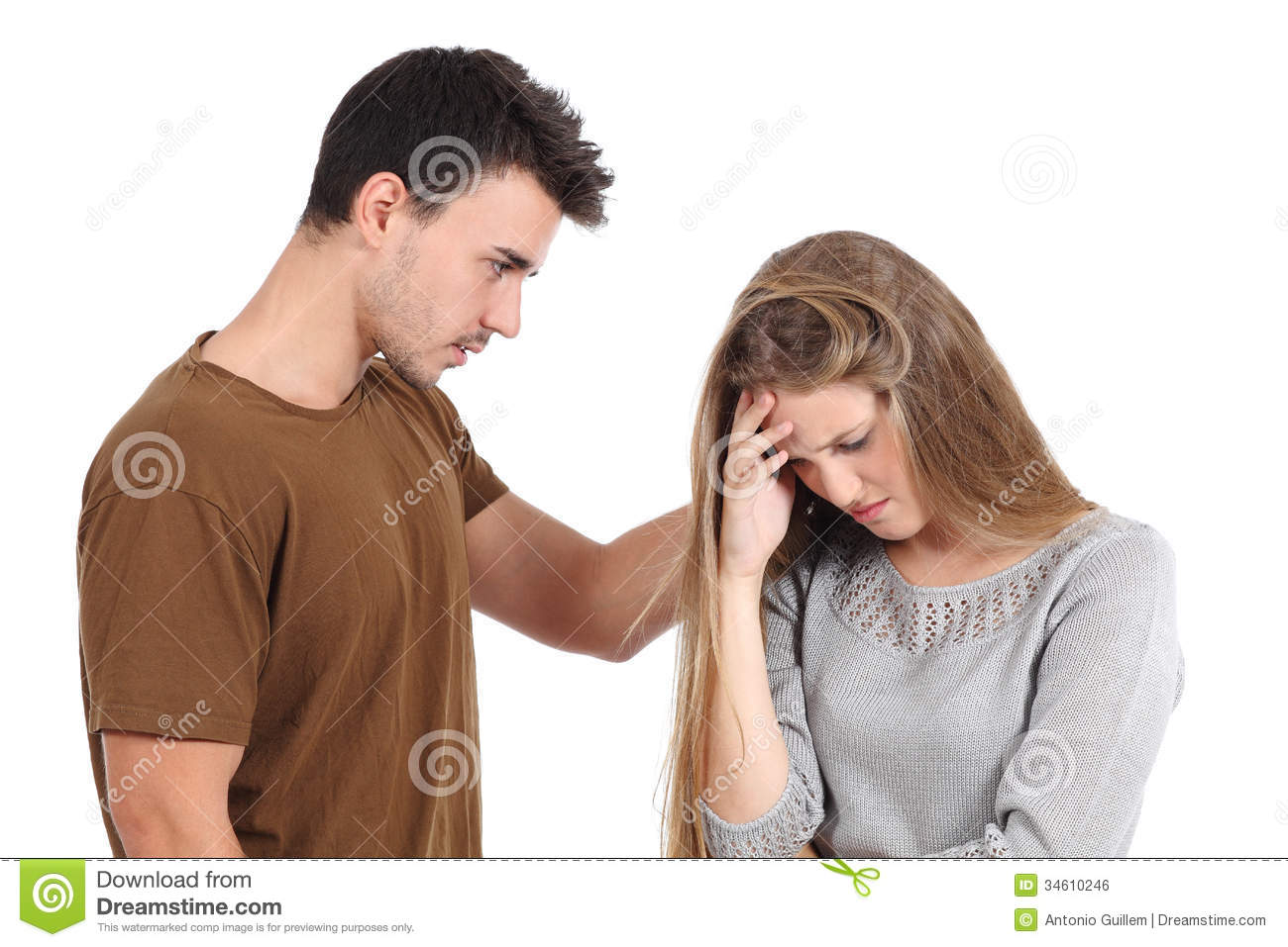 Man Comforting To A Woman Isolated Royalty Free Stock