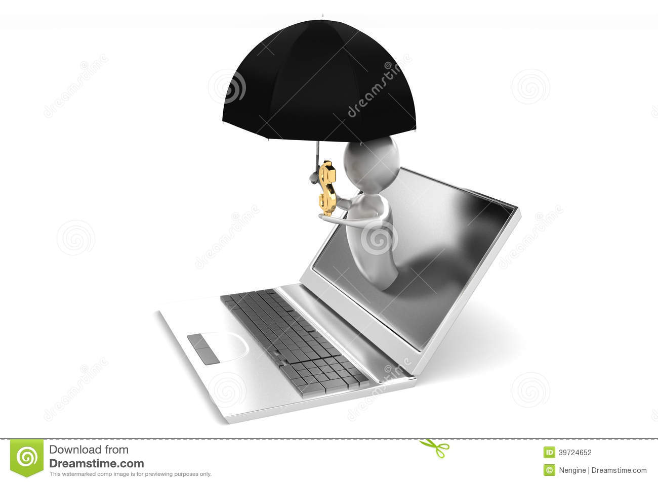 Man Coming Out From A Laptop Holding Umbrella Stock