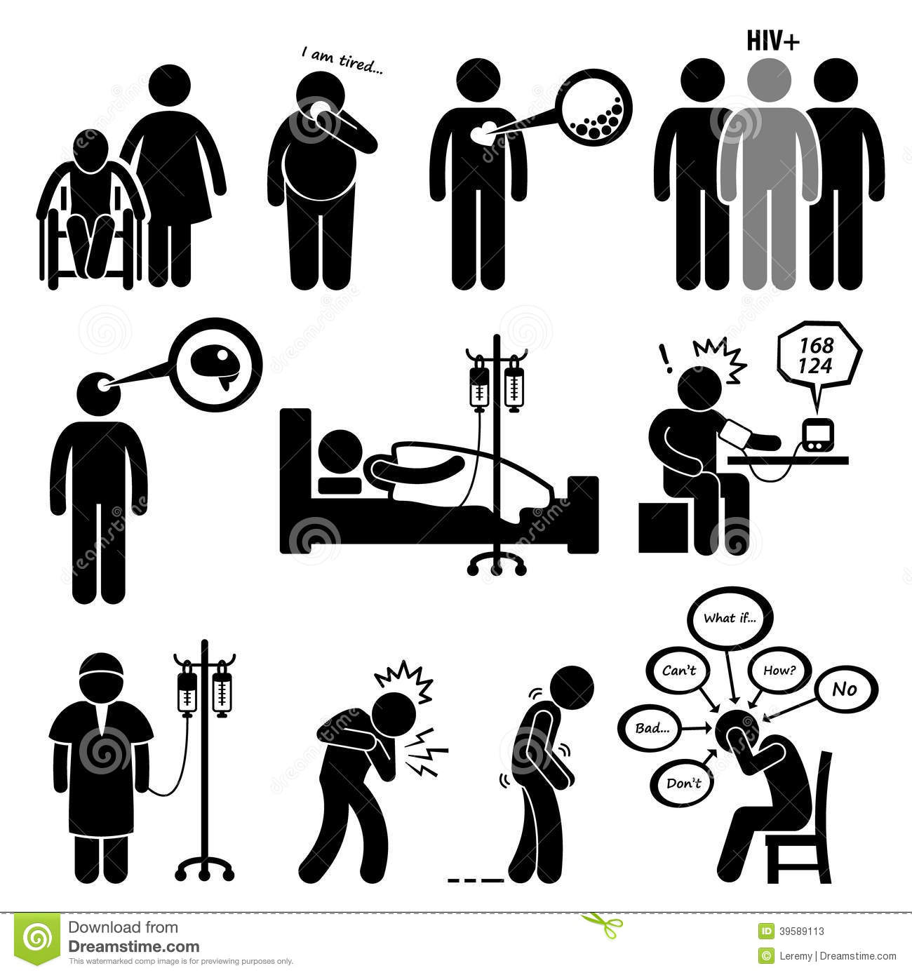 Man Common Diseases And Illness Cliparts Stock Vector - Image ...