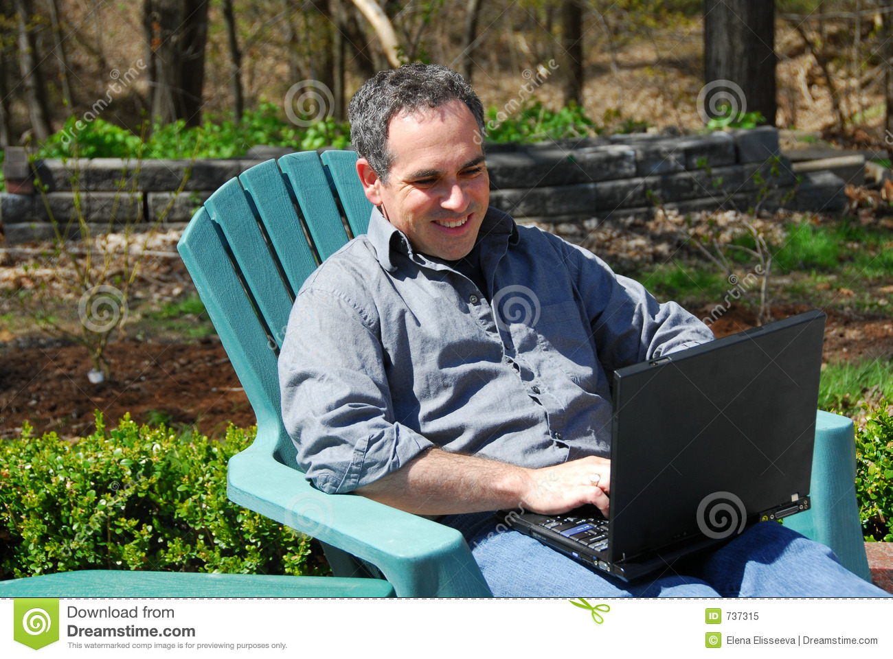 Man Computer Outside Royalty Free Stock Photo Image 737315