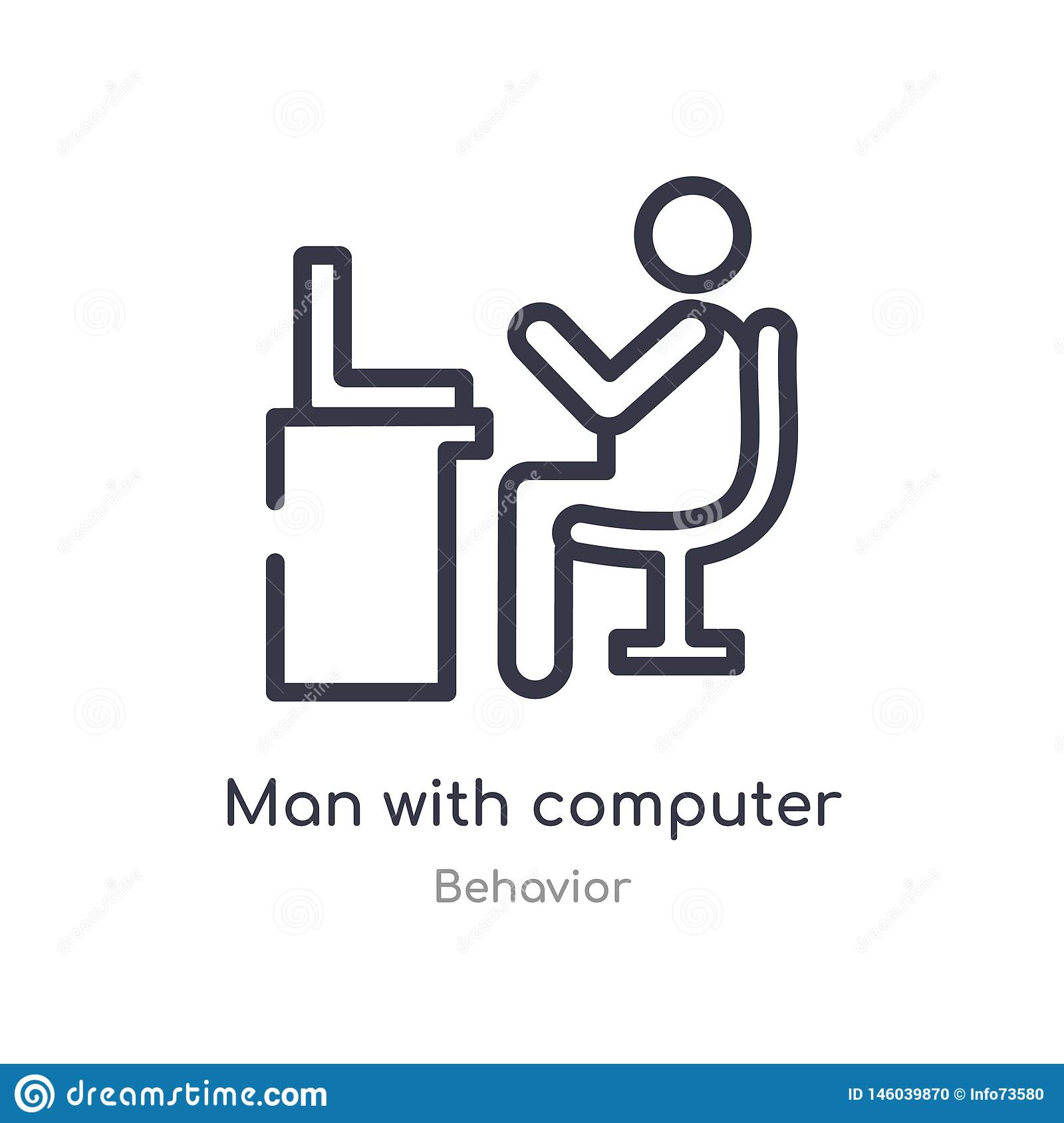 man with computer screen outline icon. isolated line vector illustration from behavior collection. editable thin stroke man with