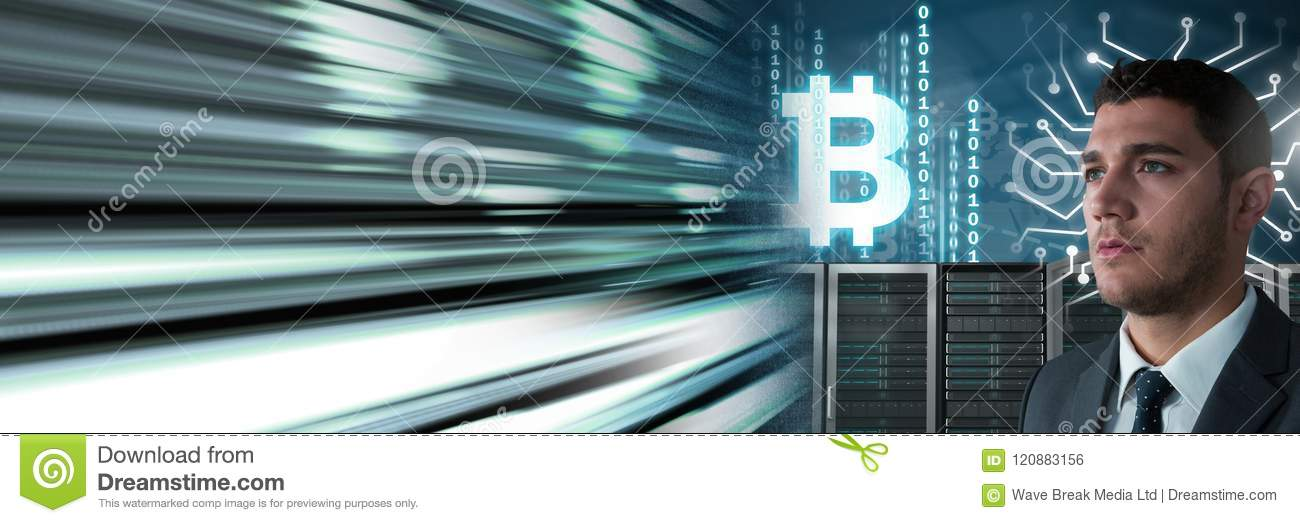Man with computer servers and bitcoin technology information interface transition
