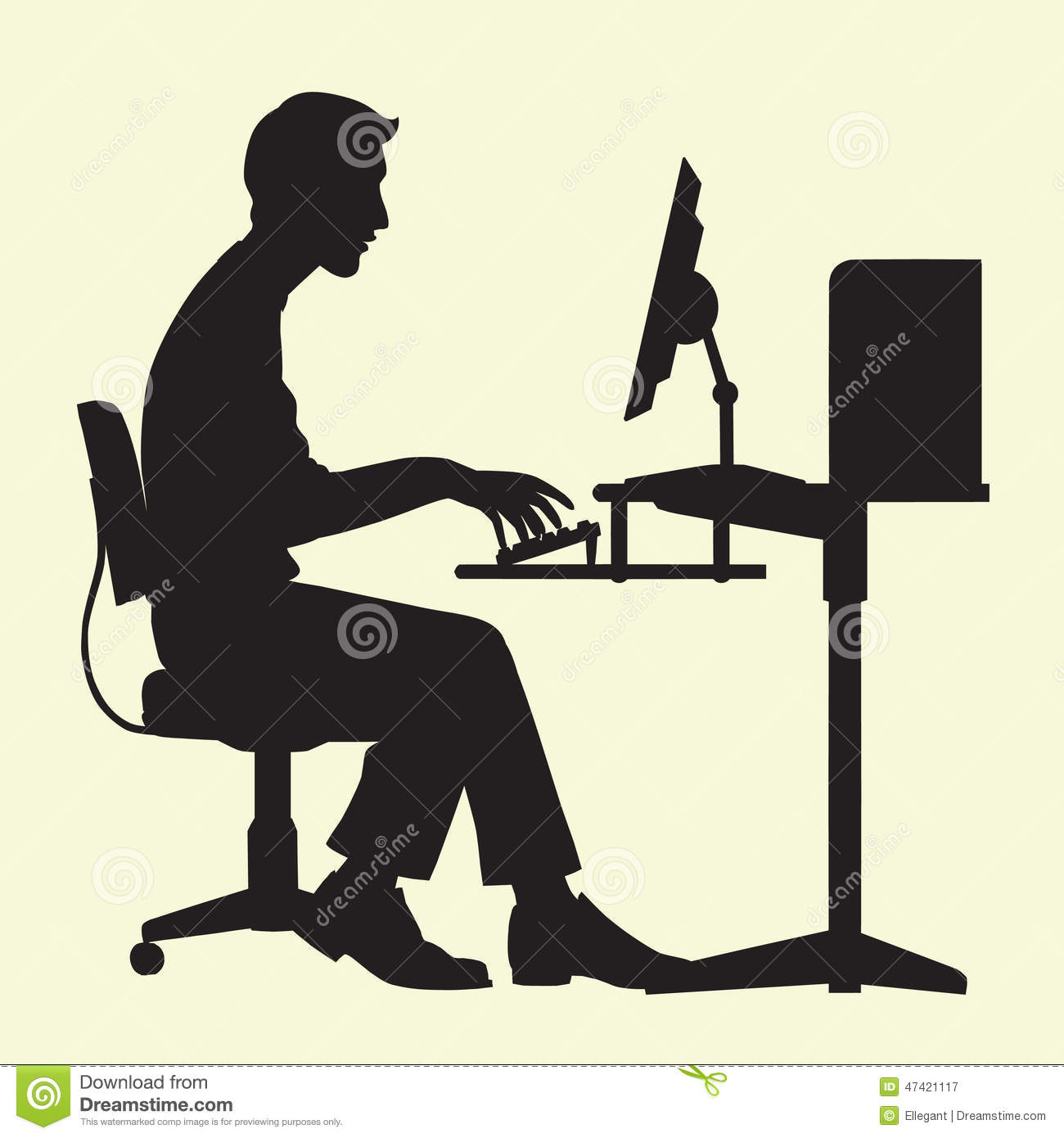 Man On Computer Stock Vector Image 47421117