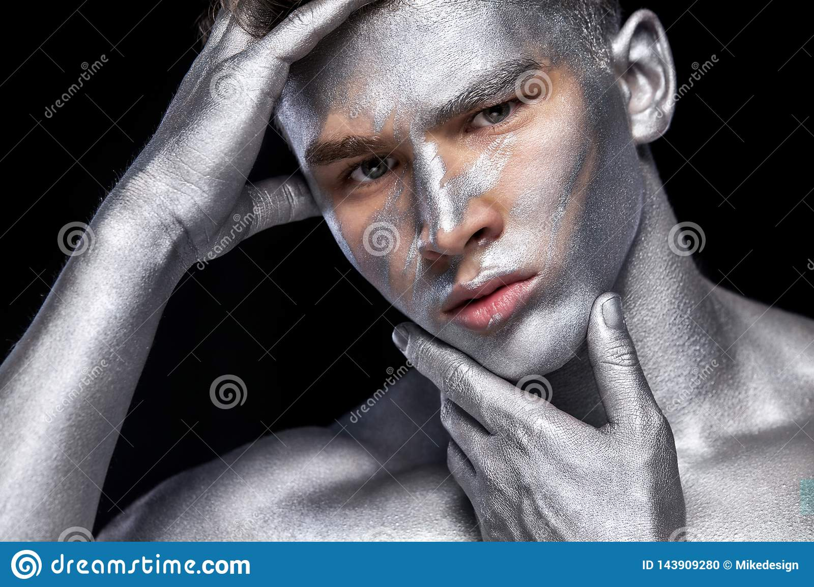 A Fashion Portrait Of Man With Silver Bodyart And Face Art Stock Photo Image Of Bodyart Cute 143909280