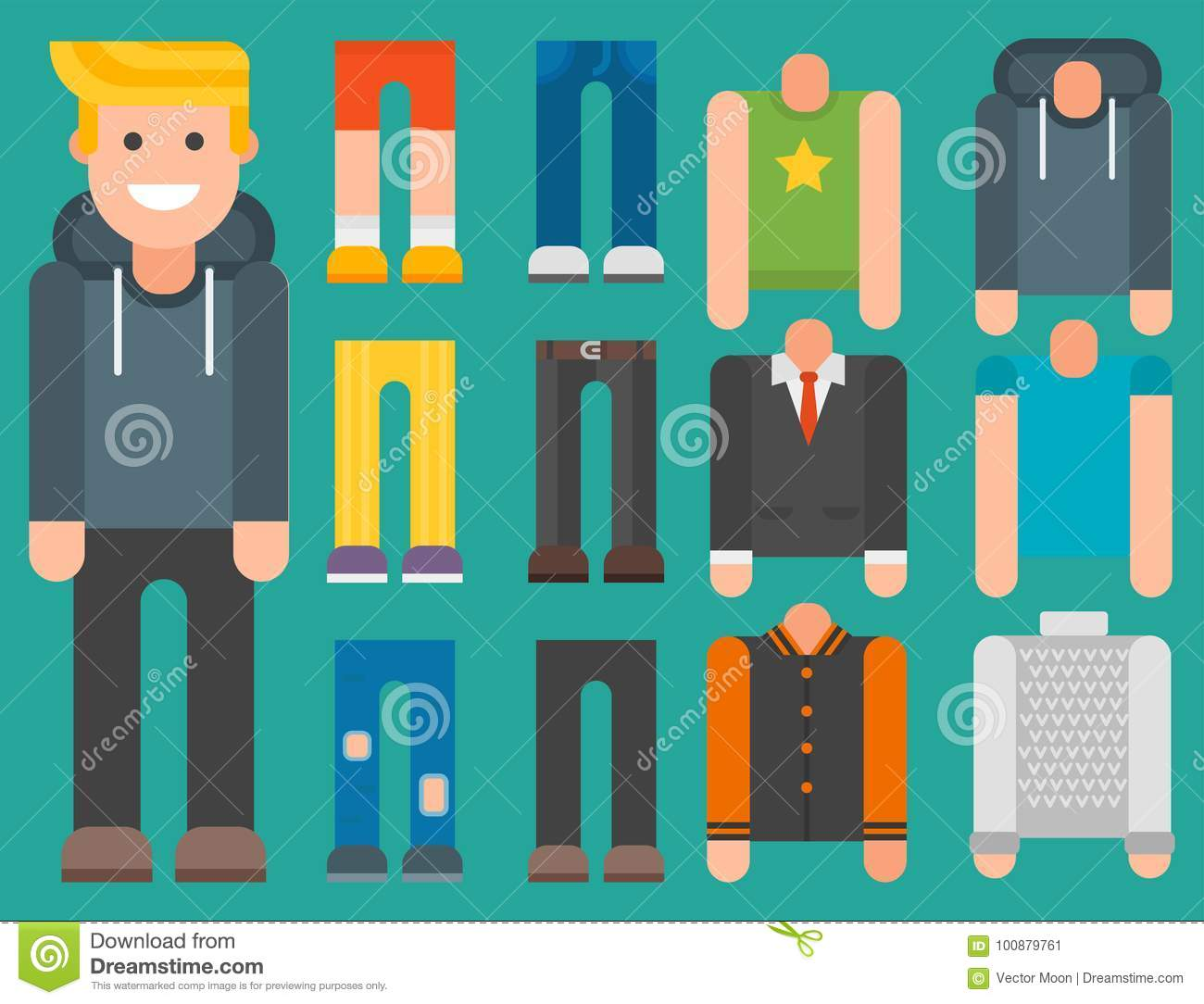 Man Constructor Body Avatar Creator Vector Cartoon Character