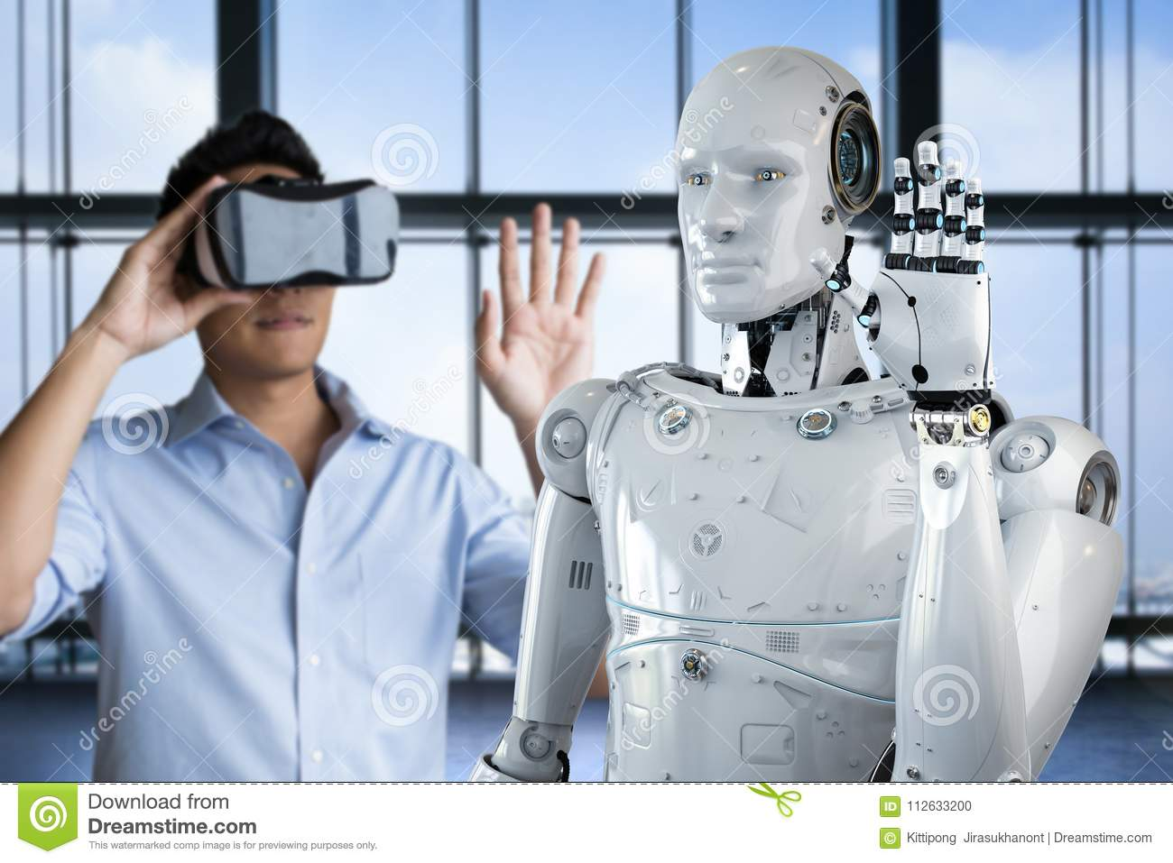 Man control robot stock photo  Image of human, headset - 112633200