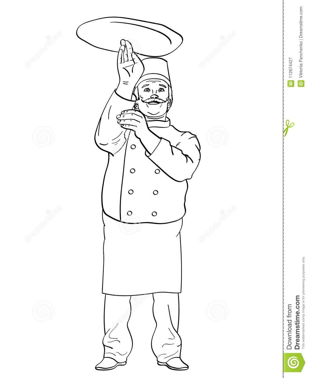 Man Cook Pizza Chef Tossing Dough Comic Book Style Imitation