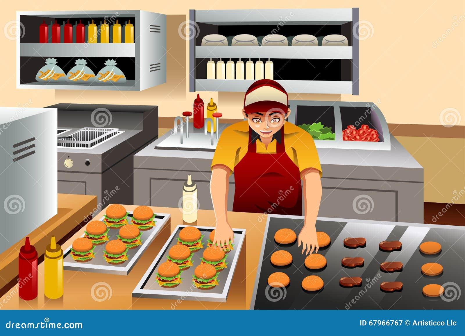Man cooking burgers stock vector image