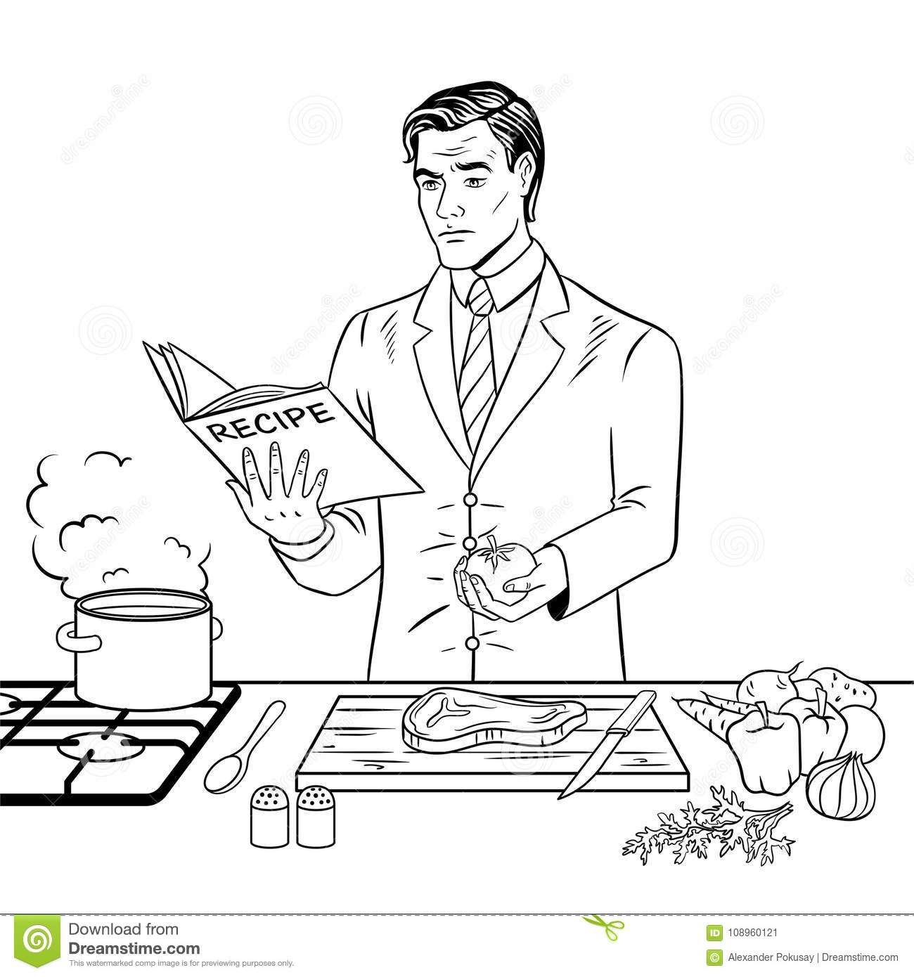 - Man Cooking Food Coloring Book Vector Stock Vector - Illustration