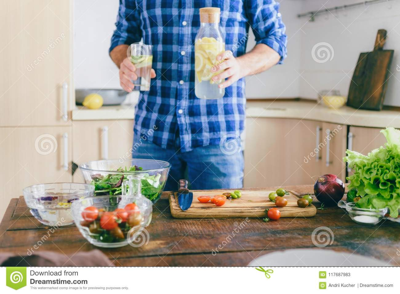Man Cooking Healthy Simple Food Home Kitchen Sunny Evening Healthy Food Concept Stock Image Image Of Board Ingredients 117687983